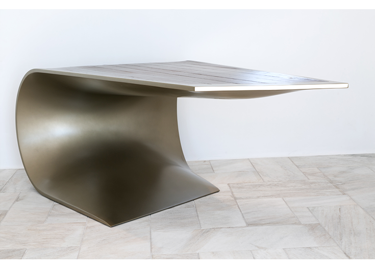 Bent - desk made in steel and palisander veneer wood
