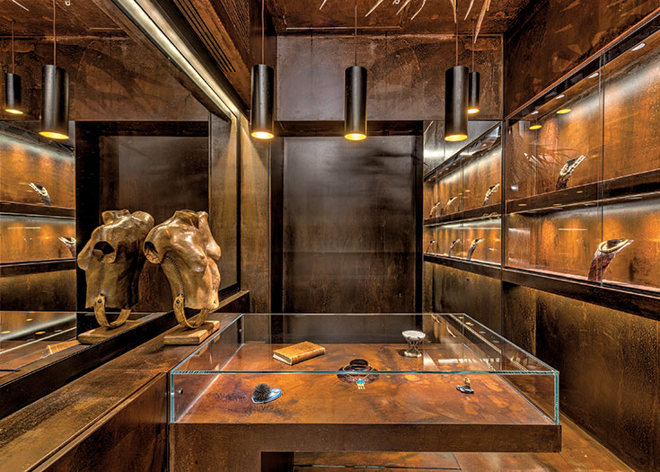 the rusted cave of jewels - Marathianakis jewellery showroom in Athens, Greece - photo credits:George Fakaros