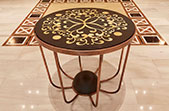 Rodos Park Lobby Table -  black granite, copper, onyx