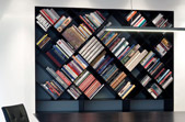 branching shelves - bookshelf in black corian - unique piece